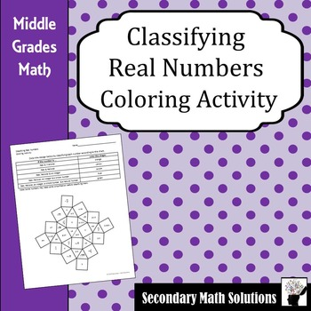Classifying Real Numbers Coloring Activity Color Activities Real Numbers Maths Solutions