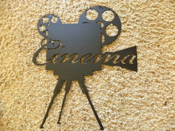Metal Wall Art Decor Cinema W/Tripod Home Movie Theater Decor, Made Of High