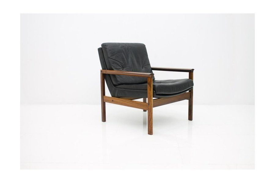 Scandinavian Easy Chair In Rosewood And Black Leather 1960s Vinterior Chair Easy Chair Scandinavian Lounge Chair