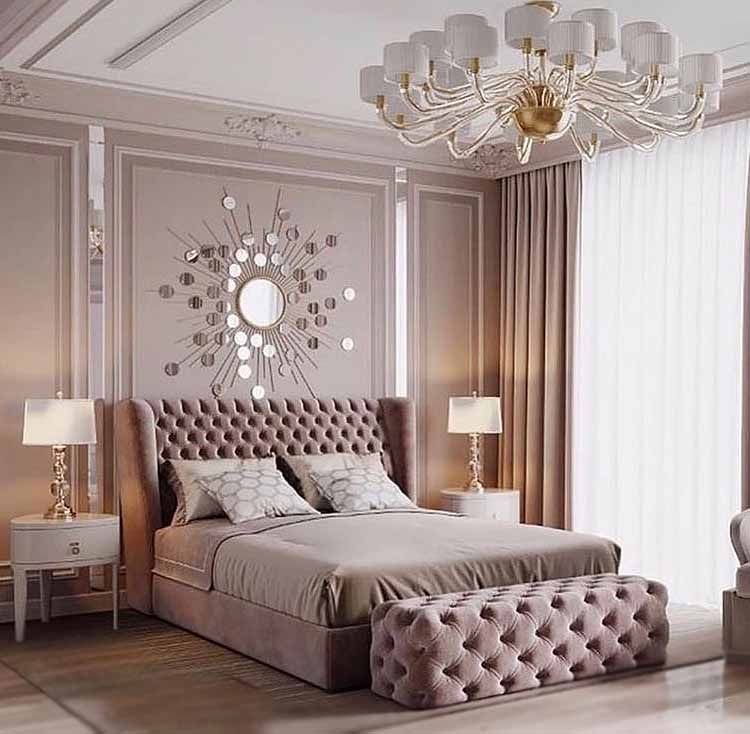 Beautiful Rose Gold Luxury Bedroom Decor With Diamond Tufted Headboard Luxury Bedroom Decor Luxurious Bedrooms Luxury Bedroom Master Bedroom ideas tufted headboard
