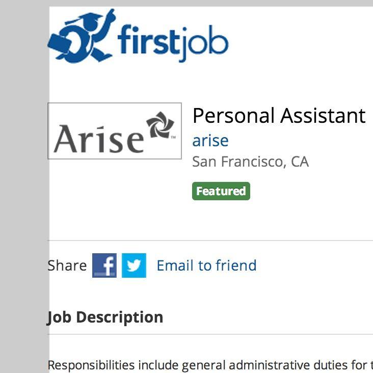 Personal Assistant arise San Francisco, CA   wwwfirstjob - intern job description
