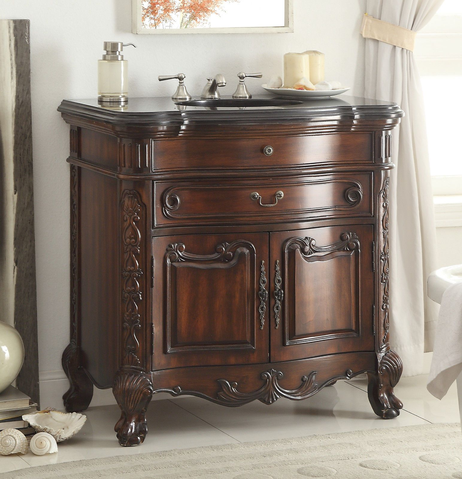 Adelina 36 Inch Antique Mahogany Bathroom Sink Vanity Victorian