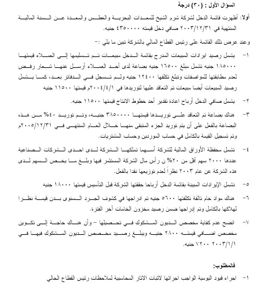 سؤال محاسبي من امتحانات الجمعية المصرية للمحاسبين والمراجعين Blog Posts Blog Accounting