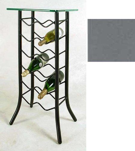 12 Bottle Wine Rack Server With Glass Top Gun Metal 32h X 15w X
