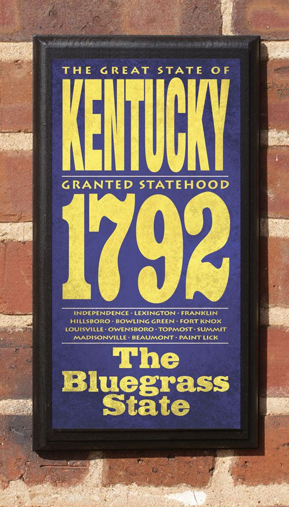 Kentucky KY Wall Art Sign Plaque Gift Present Personalized Color ...