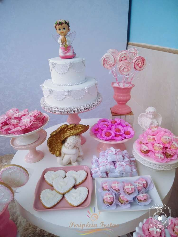 Baptism Party Ideas Photo 1 Of 10 Catch My Party Baptism Dessert Table Baptism Party Baptism Desserts