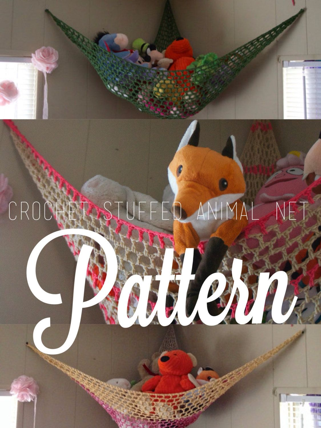 PATTERN // Crochet Stuffed Animal Net Hammock // Kid\'s Room Toy ...