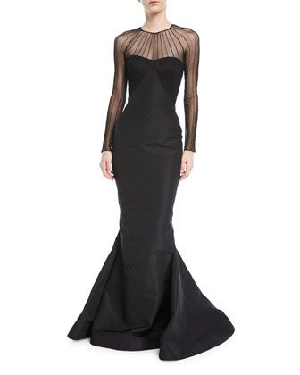 2fefe280c6194 Tulle+Illusion+Long-Sleeve+Silk+Faille+Trumpet+Evening+Gown +by+Zac+Posen+at+Neiman+Marcus.