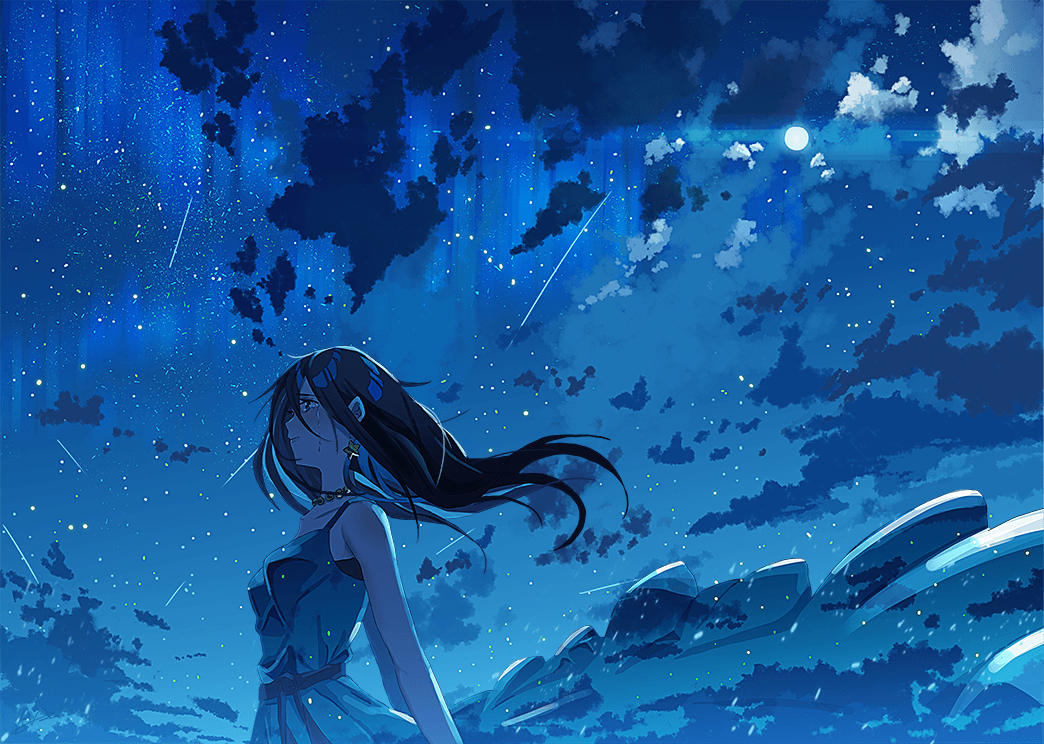 The night sky is shedding tears with you [original]