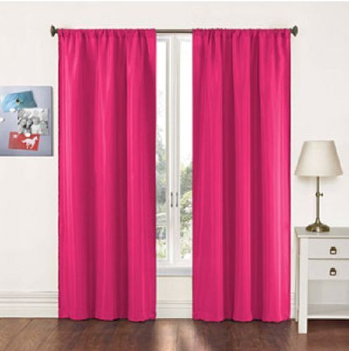 Pairs to Go Fizz Solid Woven Curtain Panels Set of 2 Pink 40 x 84 ...