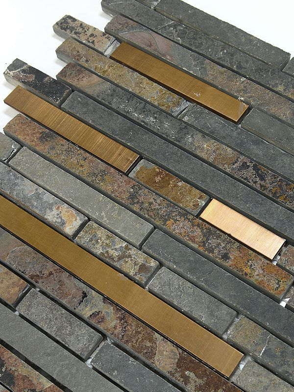 Rustic copper linear natural slate blend mosaic tile kitchen backsplash ba310955 www - Backsplash tile rustic ...