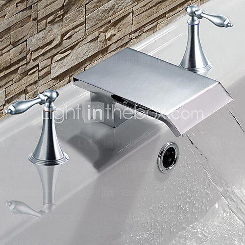 Bathroom Sink Faucet Waterfall Chrome Widespread Three Holes Two Handles Three Holesbath Taps 2020 Us 134 99 Unique Bathroom Sink Faucet Bathroom Sink Faucets Bathroom Sink Faucets Waterfall