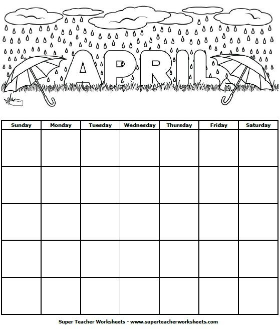 April Calendar Dates : Students can color this april calendar and fill in the