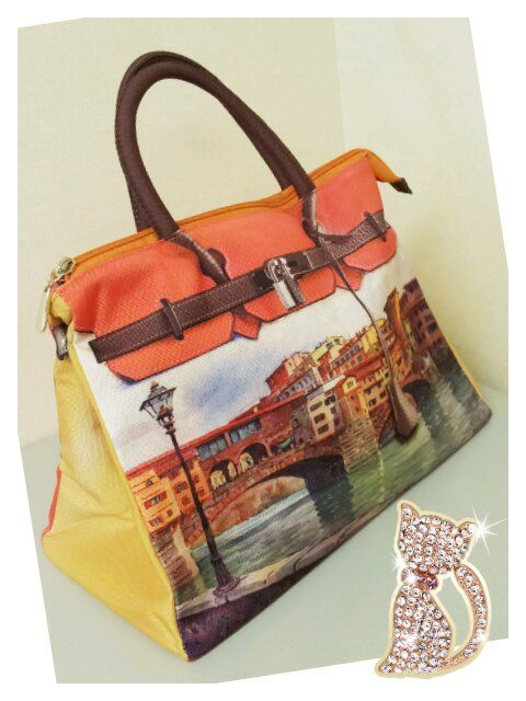 Mousse printed bag - orange river side style. Size : L39 x H27 x W18cm Price : US$79 Material: Polyester