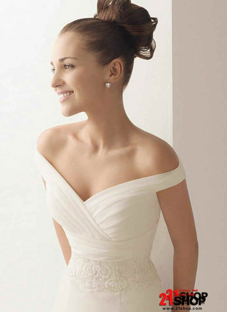 Simple off the shoulder wedding dresses  Love the top of this dress  the Knot  Pinterest  Wedding