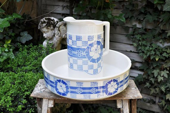 Vintage Washing Set / French pitcher and wash basin /blue