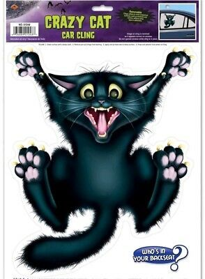 Peel n Place Halloween Crazy Cat Car Window Cling Removable Decoration