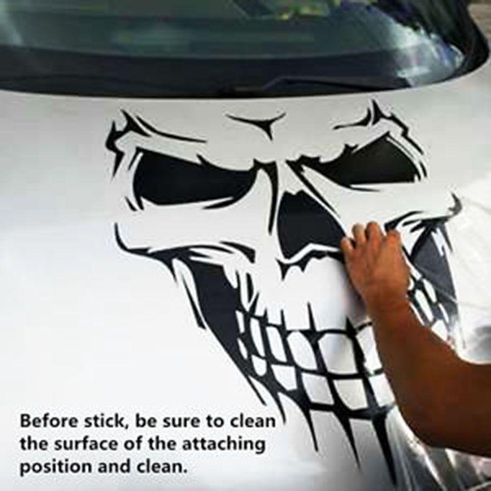 Black Skull Skeleton Car Hood Decal Rear Vinyl Side Door Sticker For Car Truck Window Skull Decal Car Stripes Black Skulls [ 1001 x 1001 Pixel ]