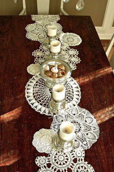 doily table runner, doilies, DIY, Easter idea, Christmas decor, Thanksgiving table setting