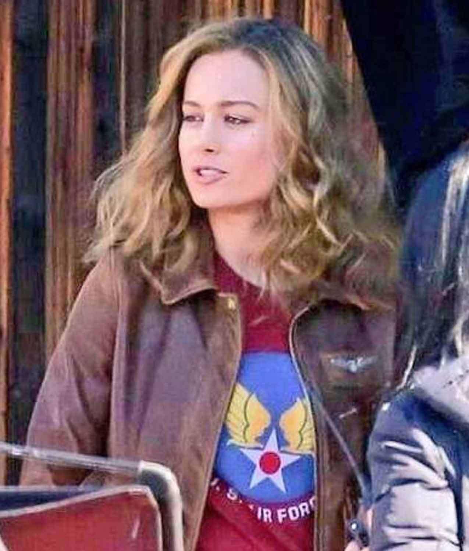Carol Danvers Brown Leather Jacket Brown Leather Jacket Brown Leather Bomber Jacket Captain Marvel Carol Danvers [ 1500 x 1275 Pixel ]