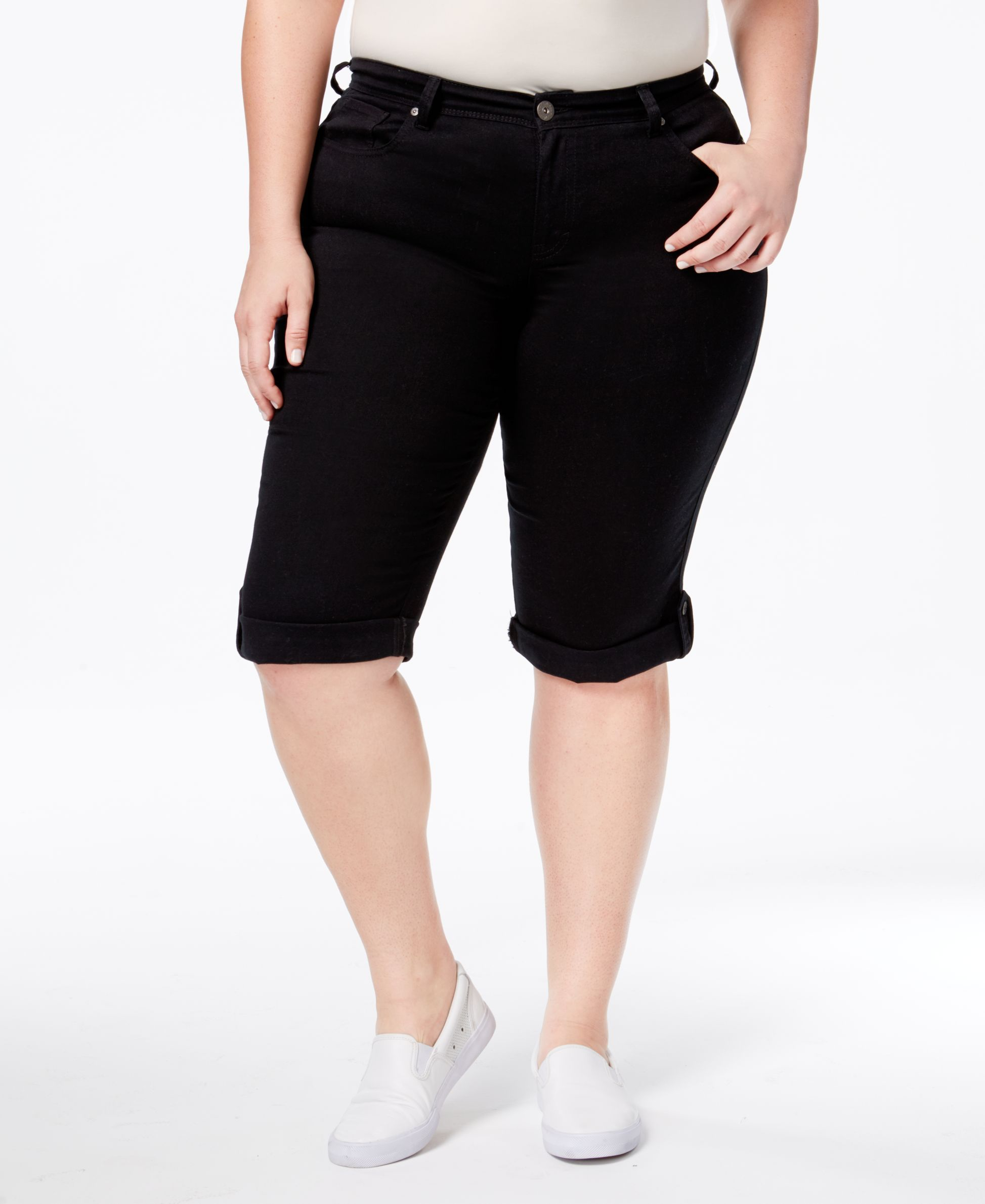 Style & Co Plus Size Curvy Black Wash Denim Skimmer Shorts, Only at Macy's
