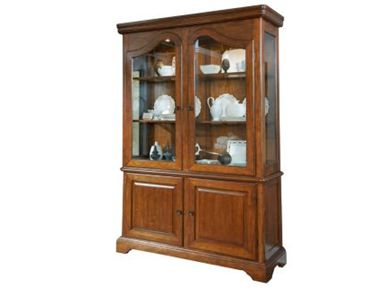 Shop for Broyhill Creswell China Case And Hutch, 4818 SERVER HUTCH, and other Dining Room Cabinets at Wright's Furniture & Flooring in Dieterich, IL 62424. The two-piece Creswell China Case and Hutch features a warm, distressed-cherry finish on pin-knotty cherry veneers. A plate groove, curio ends, two can lights, and a table-leaf storage area all combine to make an elegant and multifunctional piece.