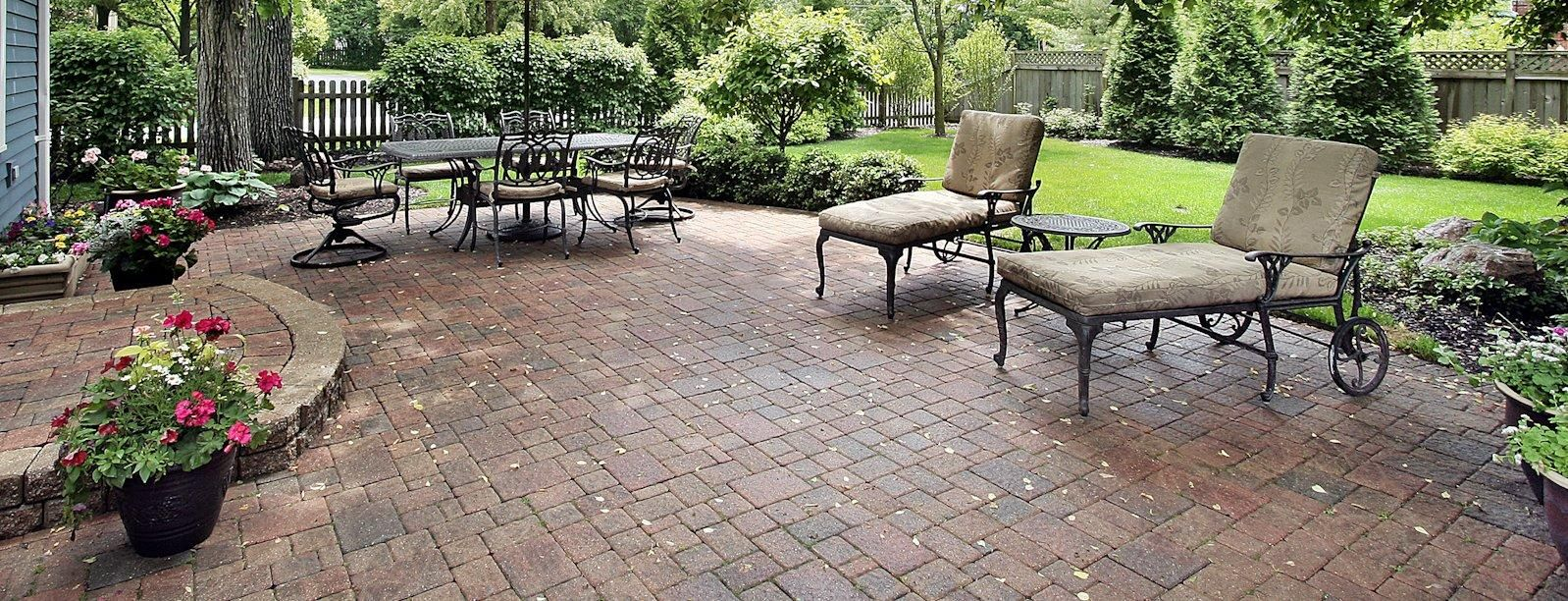 Simple Concrete Patio In Backyard