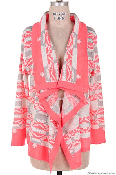 Thick Tribal Aztec Print Cardigan Sweater Neon Coral Hot Pink White