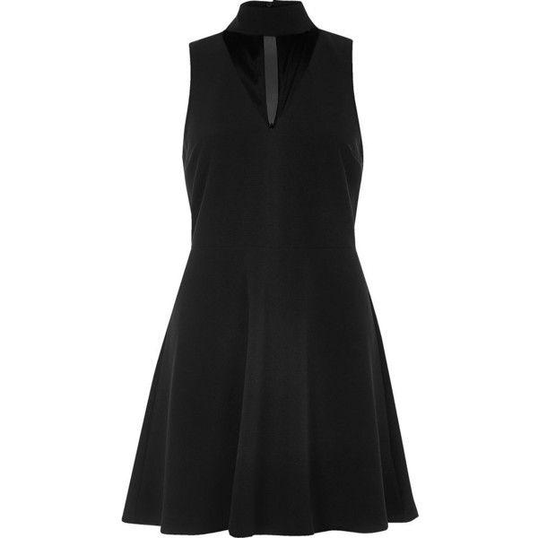 River Island Black choker mesh skater dress ($59) ❤ liked on Polyvore featuring dresses, black, mesh skater skirt, mesh skater dress, mesh insert skater dress, skater dress and woven dress
