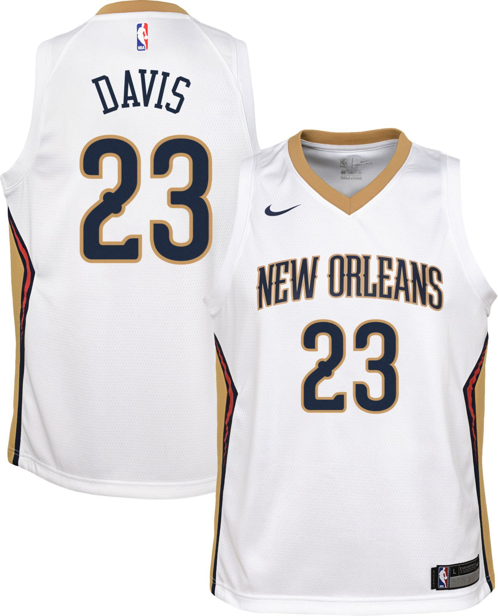 low priced 2918e 37191 Nike Youth New Orleans Pelicans Anthony Davis #23 White Dri ...
