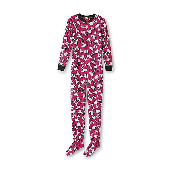 b5eb23d90 Peanuts Snoopy Women s Fleece Footed Pajamas