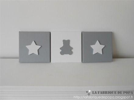 Triptyque 20x20 th me etoile et ourson gris blanc d co for Chambre bebe theme etoile