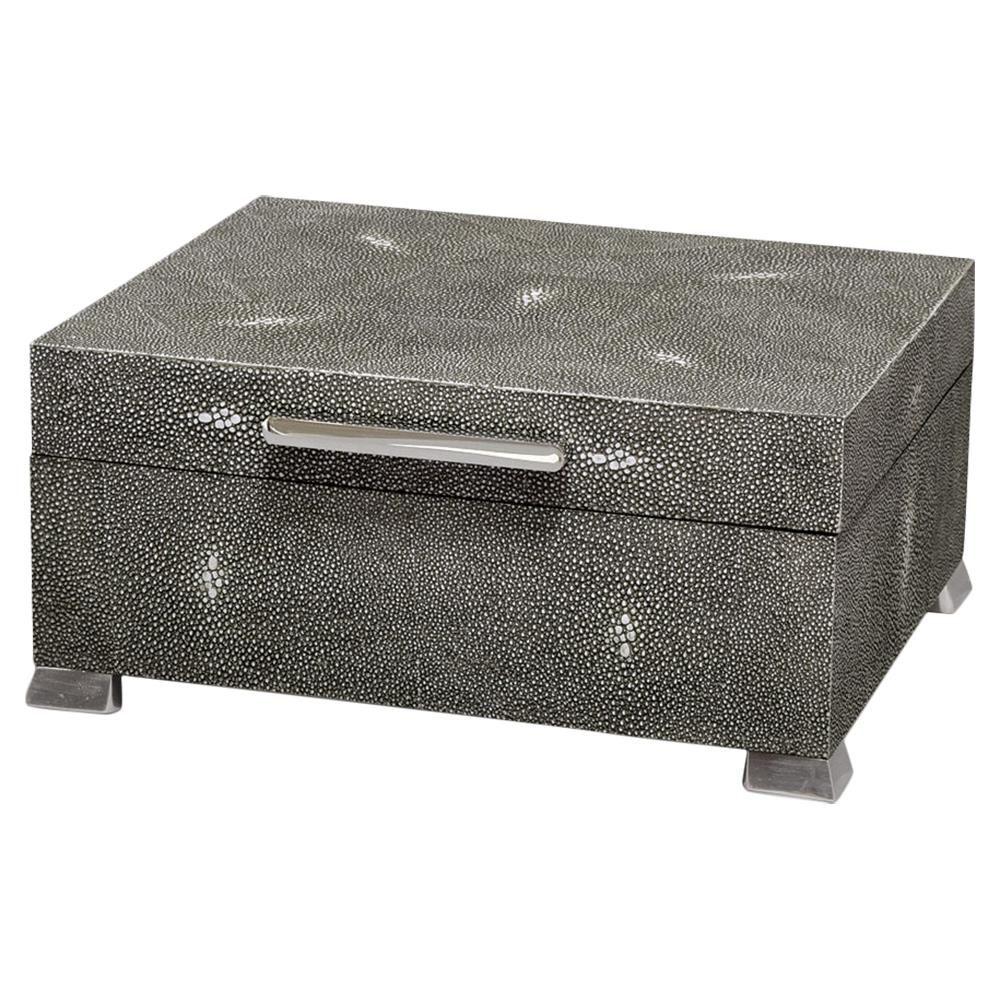 Palecek Drake Regency Charcoal Grey Shagreen Steel Decorative Box Decorative Boxes Shagreen Charcoal Grey