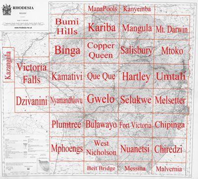 SHEETFALL of Rhodesian maps at 1250 000 scale KugroRhodesia