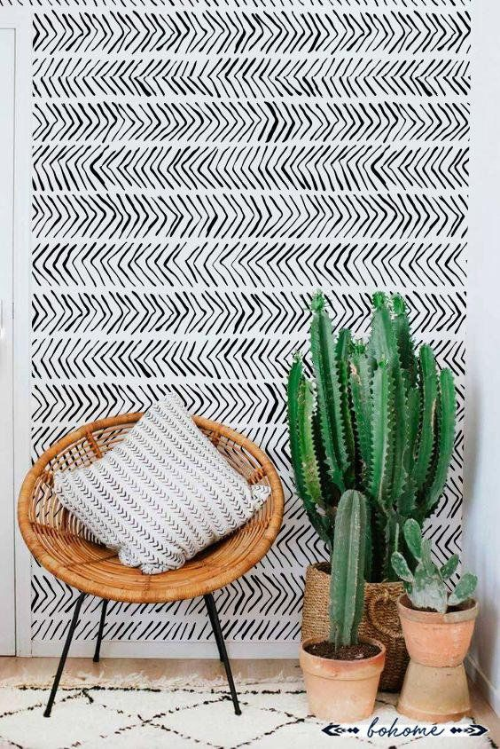 Photo of Ikat boho pattern removable wallpaper, Boho style wall mural, Ethinic wallpaper, Removable, traditional or non-woven vinyl #W17