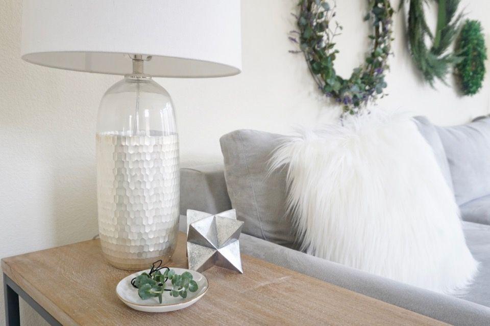 Scandinavian Glam Holiday Christmas Mini Eucalyptus Wreath Silver Decor