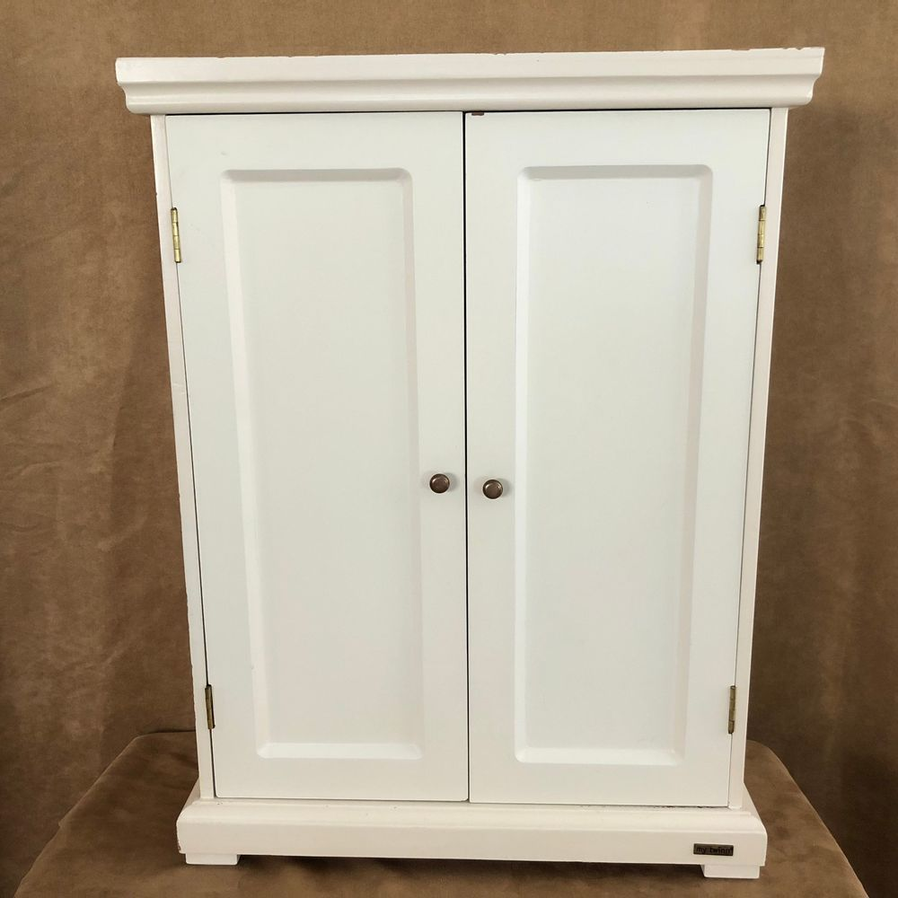 My Twinn Doll Wooden Armoire Closet White Hangers Lot American Girl  Furniture