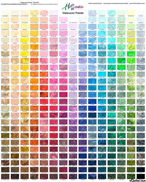 Fabric Panel Showing All The Hoffman Watercolor Batik
