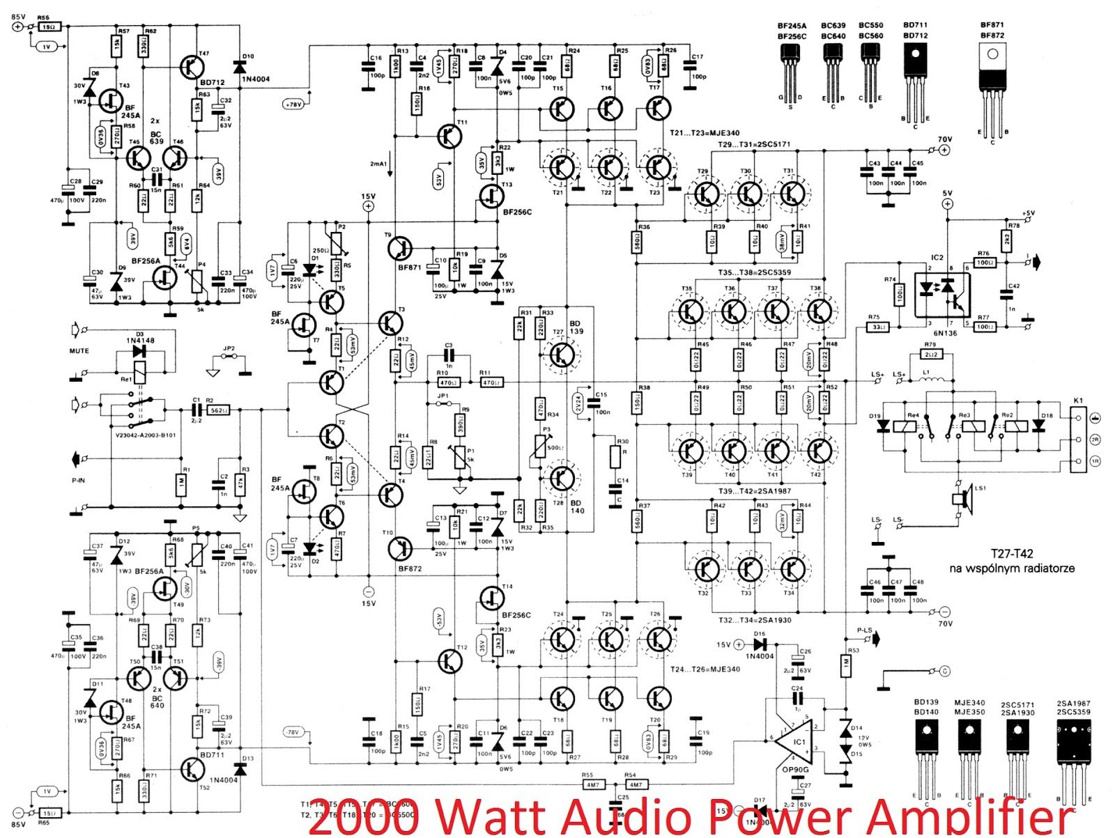 2000 watt high power amplifier 2sc5359 2sa1987