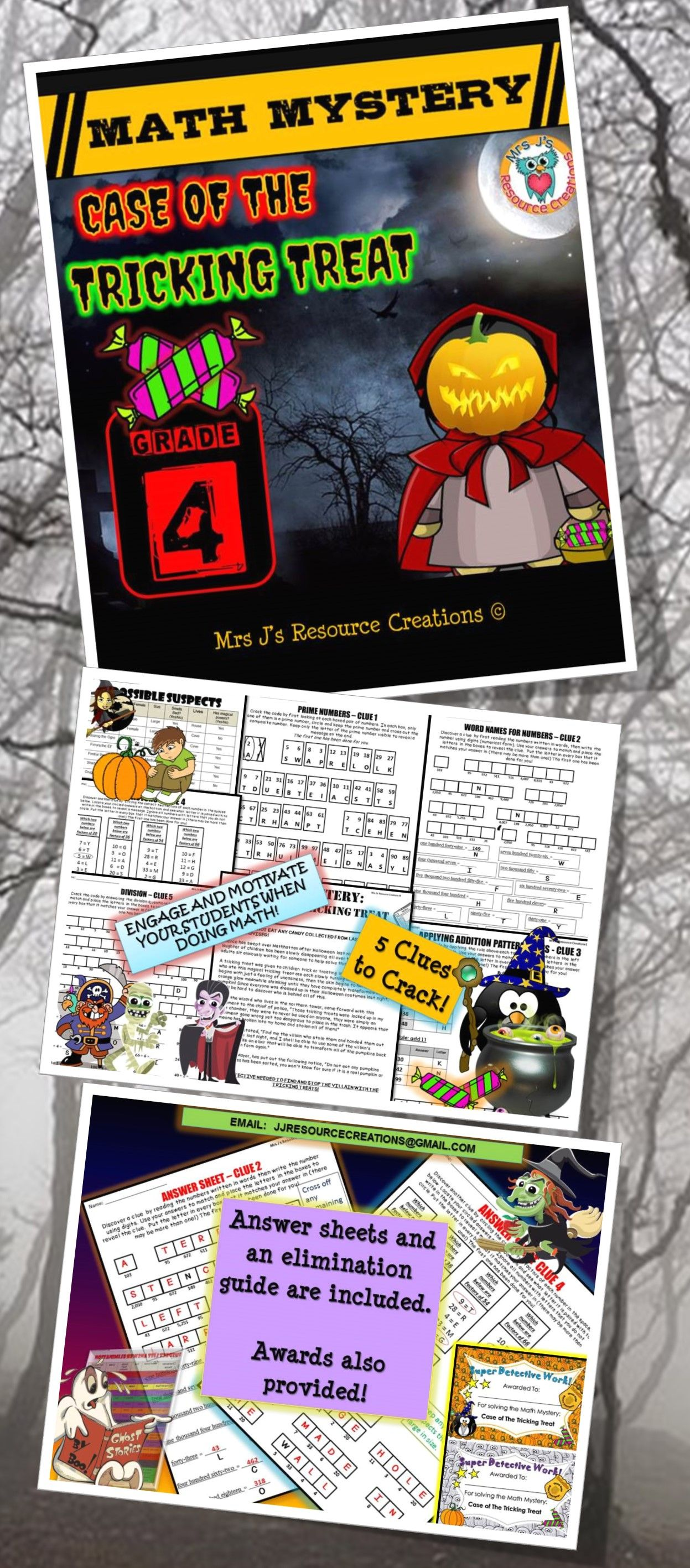 4th Grade Halloween Math Activity Halloween Math Mystery