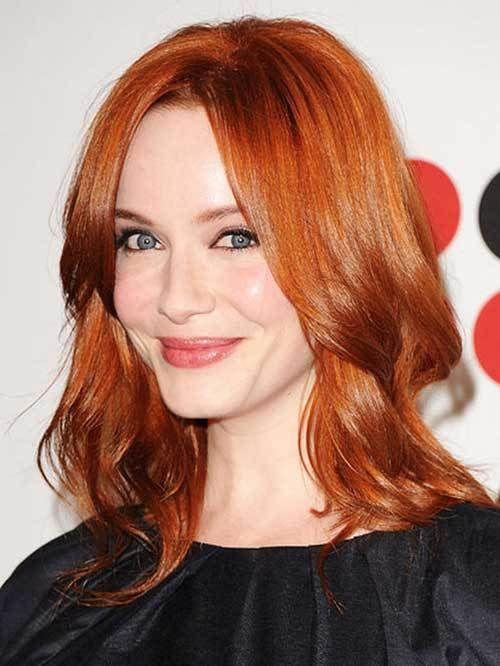 14 Red Long Hairstyles 8 Christina Hendricks Copper Red Layered Hair Medium Length Hair Styles Hair Styles Medium Hair Styles