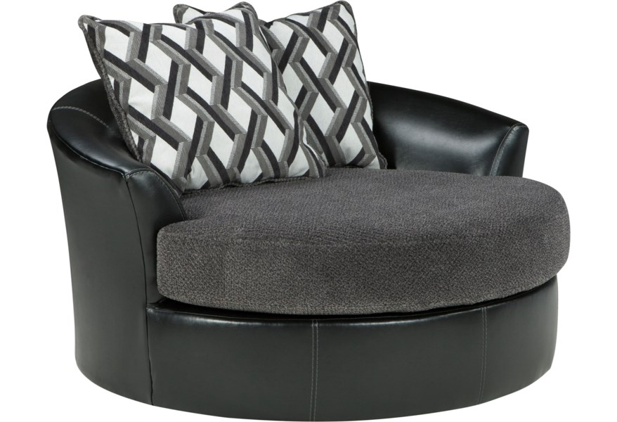 Kumasi Contemporary Fabric Faux Leather Oversized Swivel Accent