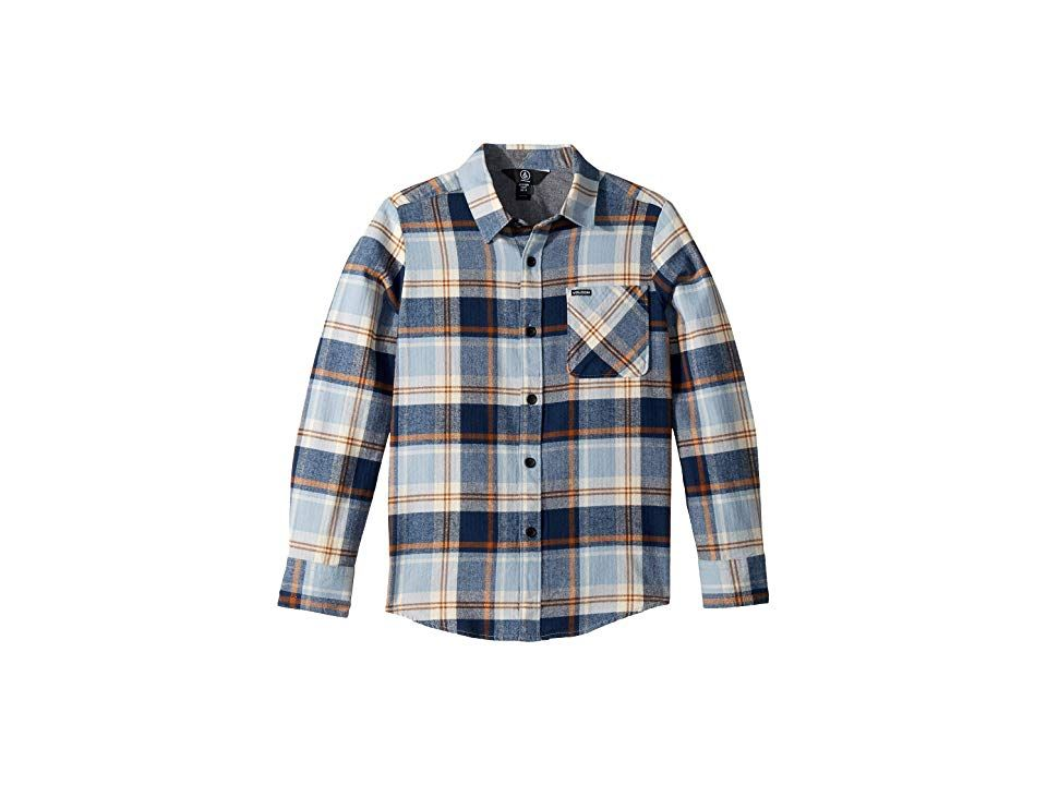 Volcom Boy/'s Flannel Long Sleeve Button Down Shirt Large