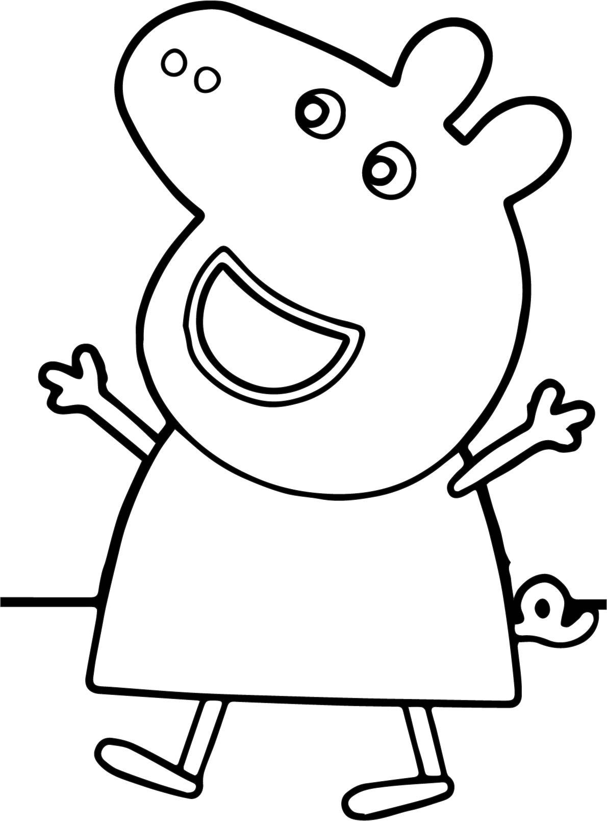 nice Peppa Pig Happy Coloring Page