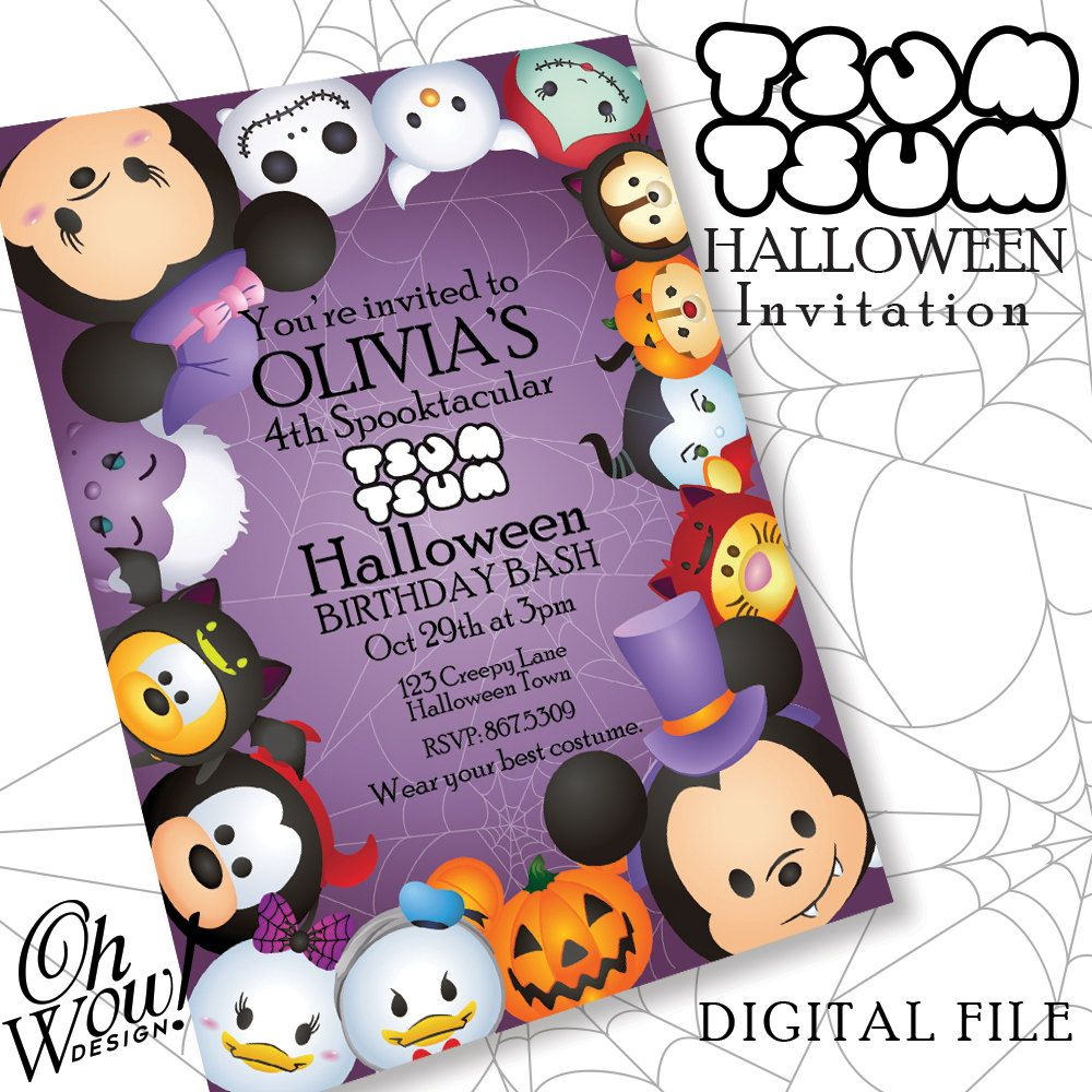 Classic Tsum Tsum Theme Halloween Party Invitation by OhWowDesign ...