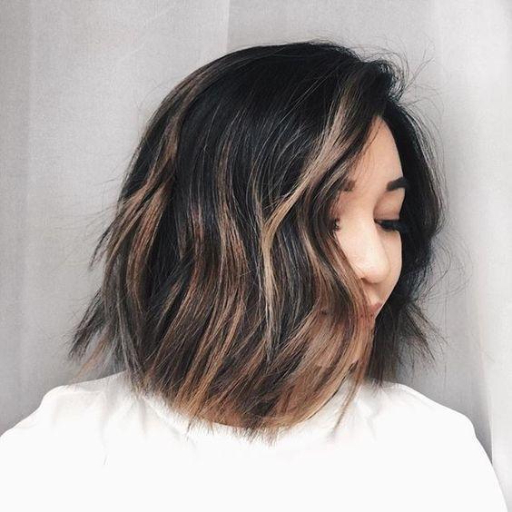 Balayage On Short Dark Hair Short Hair Balayage Balayage Hair Short Dark Hair