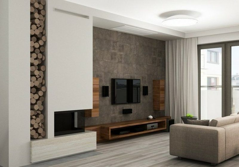 TV Wand Wohnzimmer Steinoptik