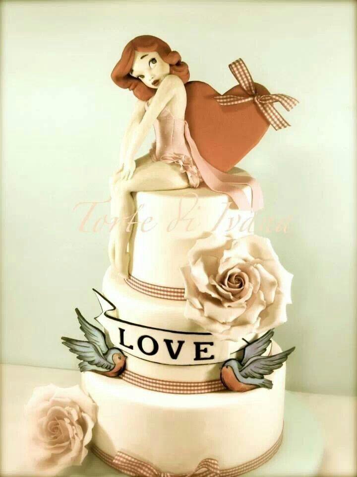 Ooooohhhh... I love! Rockabilly Pinup wedding cake! | rockabilly ...