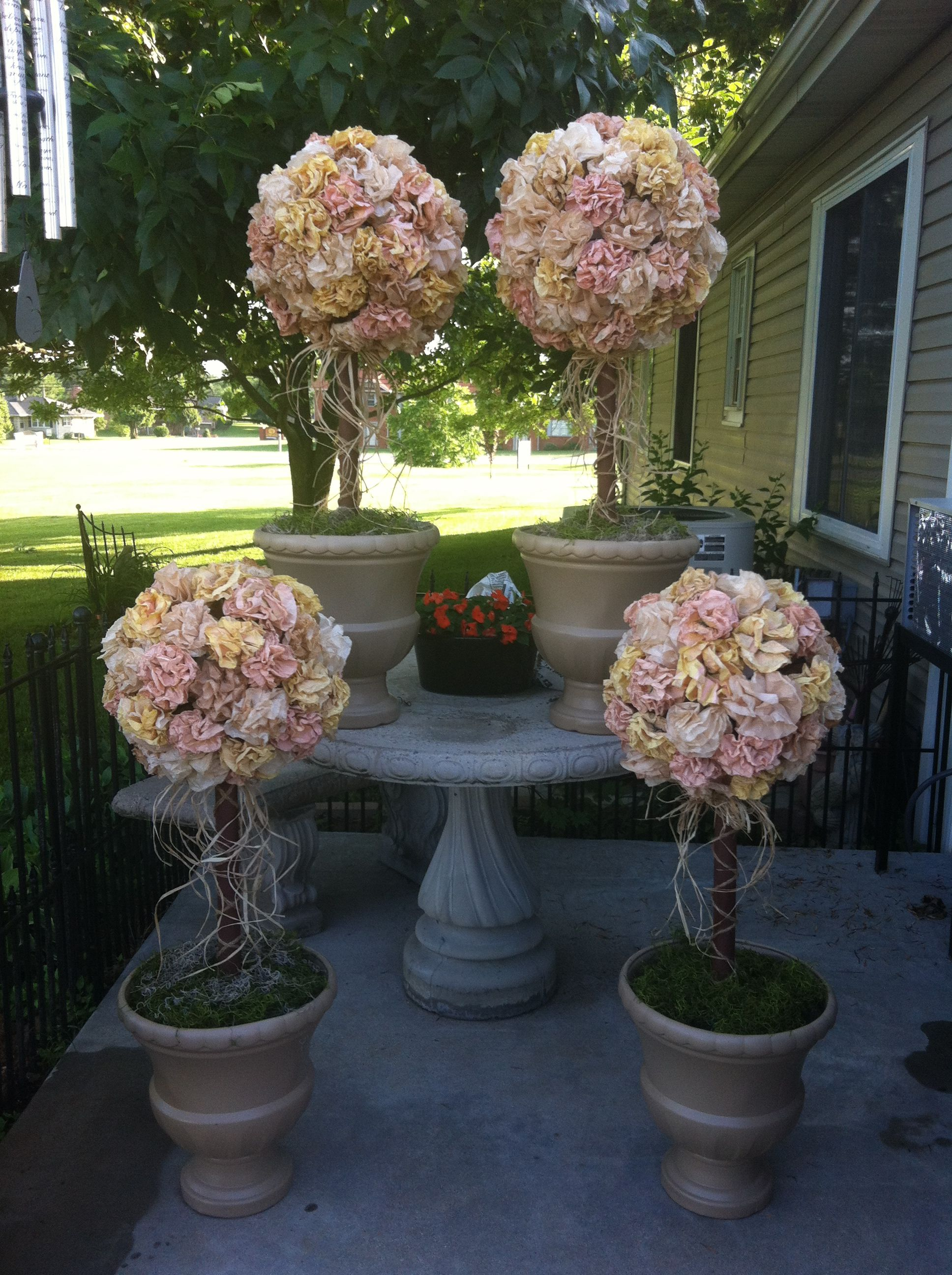 Topiaries Made With Paper Flowers Coffee Filters Ritas Wedding