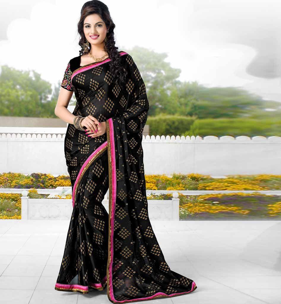 Designer Besigner Indian party wear saree with tikiwork online shopping